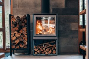 cozy and warm fireplace to heat your holiday home at christmas, new year and hogmanay 2020